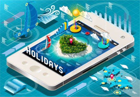 travel phone: Detailed illustration of a Isometric Holidays Infographic on Mobile Phone