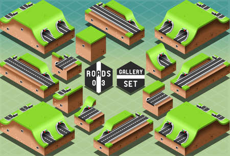 road tunnel: Detailed illustration of a Isometric Galleries Tunnels and Sections