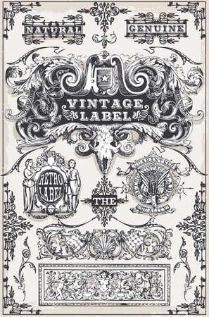 Gedetailleerde illustratie van een Vintage hand getekende grafische banners en etiketten