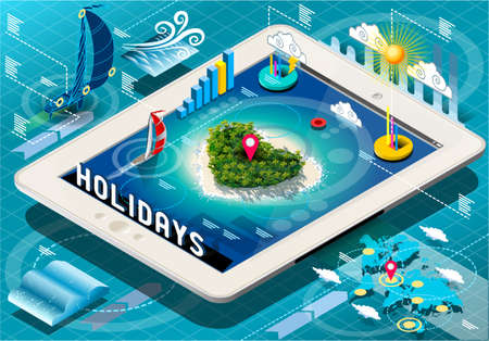 meteo: Detailed illustration of a Isometric Holidays Infographic on Mobile Tablet Illustration