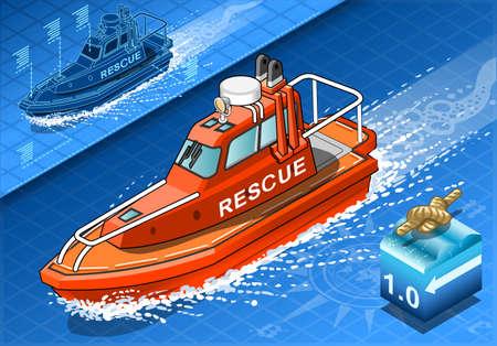 Illustrazione dettagliata di un isometrico Rescue Boat Navigazione in vista frontale