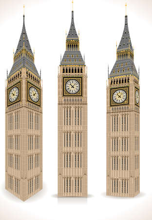 Detailed Illustration of a Big Ben Tower Isolated on White in tre positions