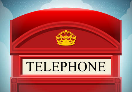 phone box: Detailed illustration of a English Red Telephone Cabin