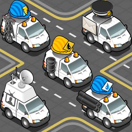 idraulico: Illustrazione dettagliata di un isometrica elettricista, idraulico, Oilman, Postman, Cameraman Trucks