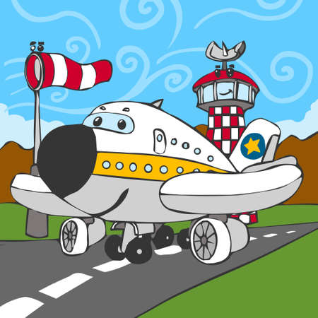 Detailed illustration of a Funny Airplane on Airstrip and Control Tower Vector