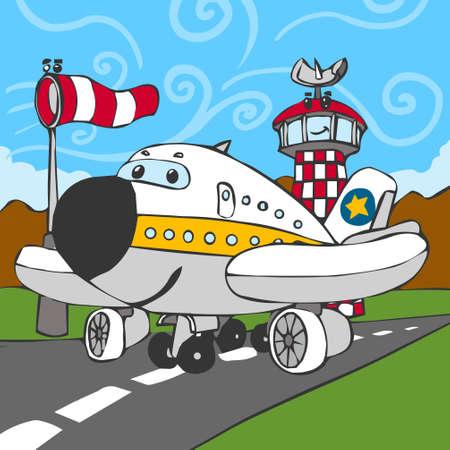 Gedetailleerde illustratie van een Grappige Vliegtuig op Airstrip en Control Tower