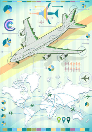 Detailed illustration of a Infographic Set Elements with Airplane