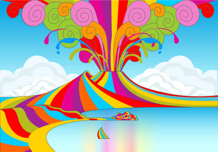 Detailed illustration of a Skyline of Naples and Vesuvio in Rainbow Eruption