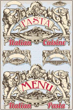 italian pasta: Ilustraci�n detallada de un elemento gr�fico de la vendimia para Men� Pasta italiana