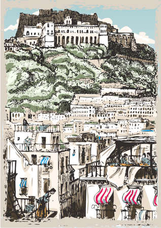 Detailed illustration of a Vintage View of Castle and Palaces in Naples, Italy