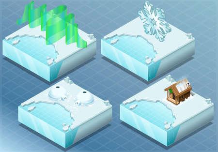 flack: Detailed Illustration of a Isometric Arctic Igloo, Aurora, Sauna, Snow Flake Illustration