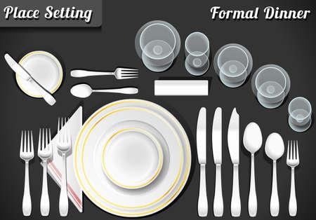 food on table: Illustrazione dettagliata di una serie di Place Setting cena formale