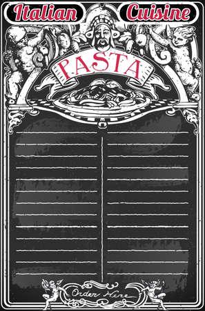 italian pasta: Ilustraci�n detallada de una pizarra de la vendimia para Men� Pasta italiana Vectores