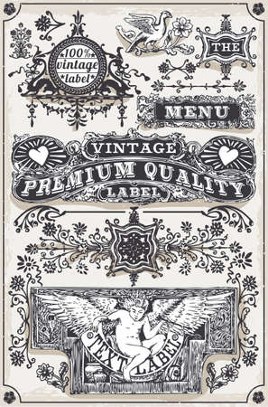 Detailed illustration of a Vintage Hand Drawn Graphic Banners and Labels Vector