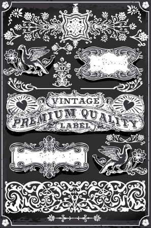 Detailed illustration of a Vintage Blackboard Hand Drawn Banners and Labels Vector