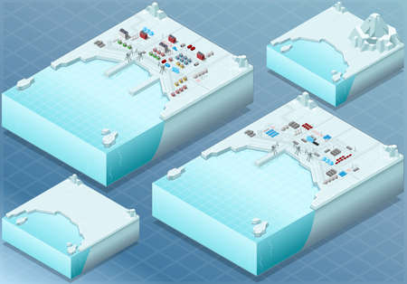 Detailed Illustration of a Isometric Arctic Bay with Town and Industrial District Vector