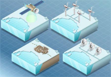 Detailed Illustration of a Isometric Arctic Satellite, Windmill, Mine, Radar