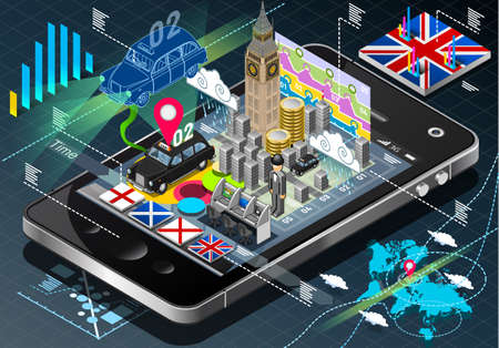 Detailed illustration of a Isometric Infographic of Great Britain on Mobile Phone Vector