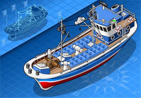 fishing boat: 전면에 고립 아이소 메트릭 낚시 보트의 자세한 그림