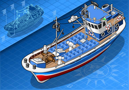 fishing ship: Detailed Illustration of a Isometric Fishing Boat Isolated in Front View