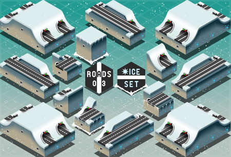 Detailed illustration of a Isometric Galleries Tunnels and Sections on Frozen Terrain