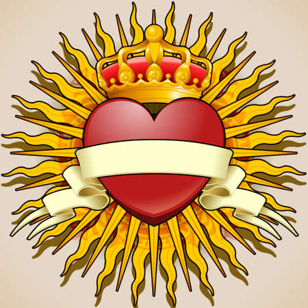 Detailed illustration of a Crowned Heart with Banner and Rays Vector