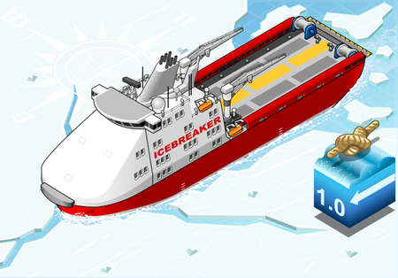 detailed illustration of a Isometric Icebreaker Ship Breaking the Ice in Front View Vector