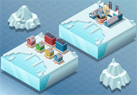 canning: Detailed Illustration of a Isometric Arctic Town and Fish Canning Factory