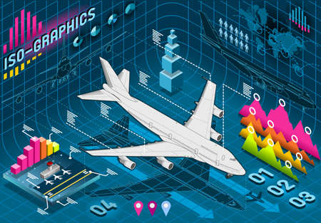 Detailed illustration of a Isometric Infographic Set Elements with Airplane Vector