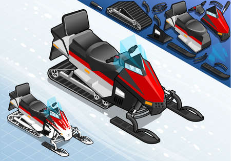 snowmobile: Detailed Illustration of a Isometric Snowmobile Motorbike in Front View Illustration