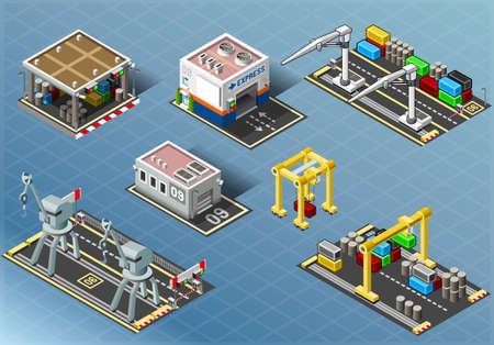 ports: Illustrazione dettagliata di un isometrica Set di edifici di stoccaggio e macchinari