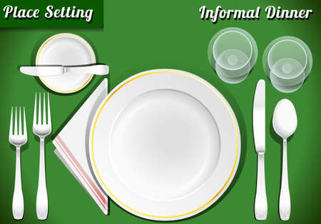 soup and salad: Detailed Illustration of a Set of Place Setting Informal Dinner