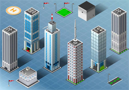 Detailed illustration of a Isometric Buildings Set Vector