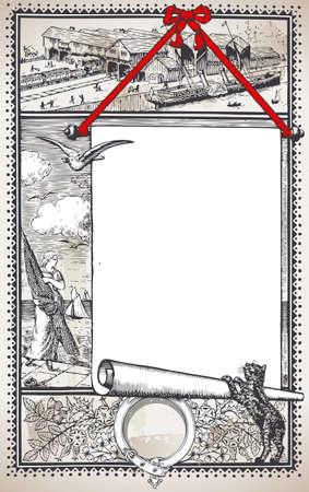 placeholder: Detailed Illustration of a Vintage Graphic Page with Placeholder Menu for Restaurant Illustration