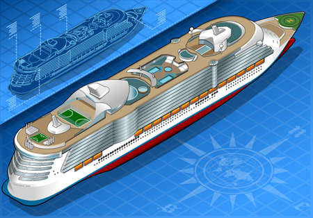 holidays vacancy: Detailed illustration of a Isometric Cruise Ship in Rear View