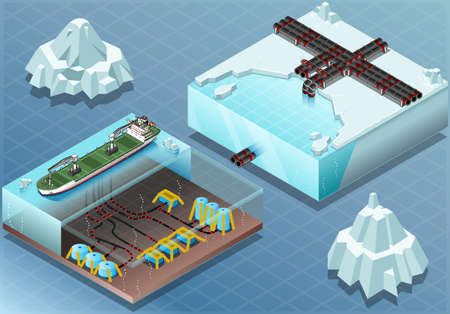 factory farm: Detailed Illustration of a Isometric Arctic Subsea Farm and Tubes Illustration