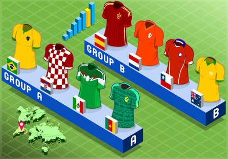 world cup: Detailed illustration of a Isometric Nations Groups for Soccer World Cup   Illustration