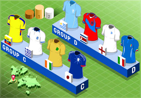 uruguay: Detailed illustration of a Isometric Nations Groups for Soccer World Cup   Illustration