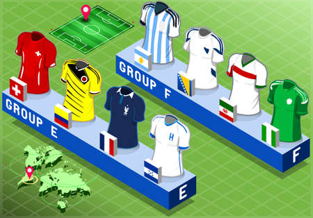 Detailed illustration of a Isometric Nations Groups for Soccer World Cup   Vector