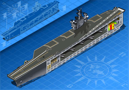 f 18: detailed illustration of a Section of Isometric Aircraft Carrier in Front View