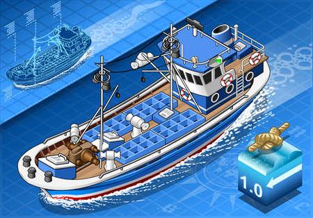 Gedetailleerde illustratie van een isometrische Vissersboot in Navigatie in Front View Stock Illustratie