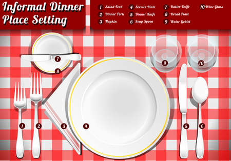 place setting: Detailed Illustration of a Set of Place Setting Informal Dinner