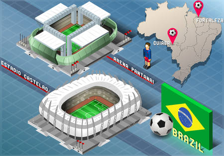 Detailed illustration of a Isometric Stadium of Cuiaba and Fortaleza, Brazil Vector