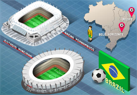 Detailed illustration of a Isometric Stadium of Recife and Belo Horizonte, Brazil Vector