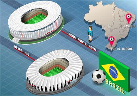 Illustration détaillée d'un Stade isométrique de Salvador et Porto Alegre, Brésil