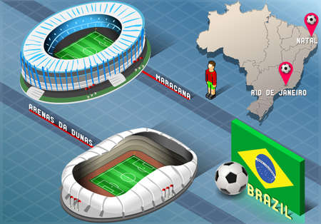 Detailed illustration of a Isometric Stadium of Natal and Rio De Janeiro, Brazil Vector