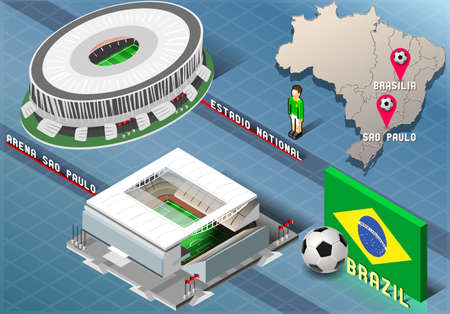 Detailed illustration of a Isometric Stadium of Brasilia and Sao Paulo, Brazil Vector