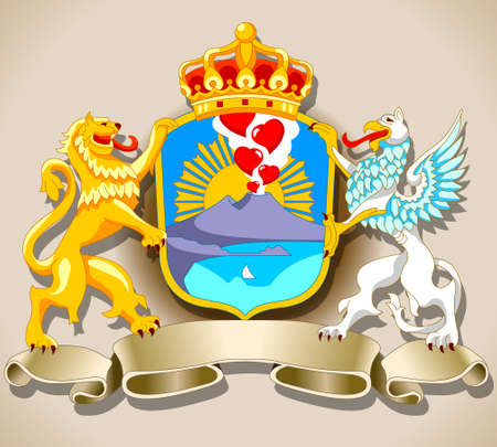 naples: Detailed illustration of a Coat of Arm of Naples