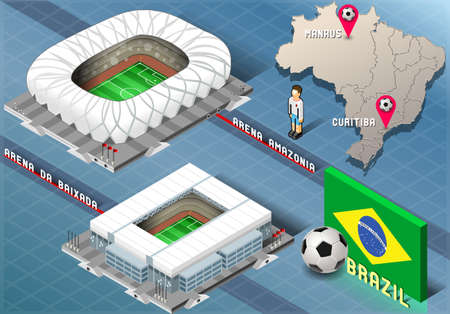 Detailed illustration of a Isometric Stadium of Manaus and Curitiba, Brazil Vector