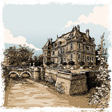 chateau: Detailed Illustration of a Vintage View of Chateau de Rosay, Eure, France Illustration